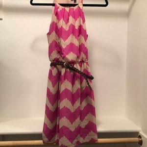Pink and tan striped dress